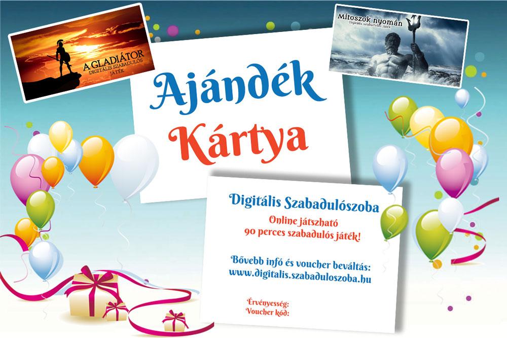 online ajándékkártya - digitális szabadulószoba élményajándék ötlet